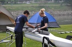Mike and Sarah rigging the pair