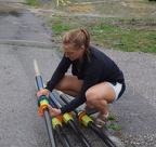 Caitlin helping with oars