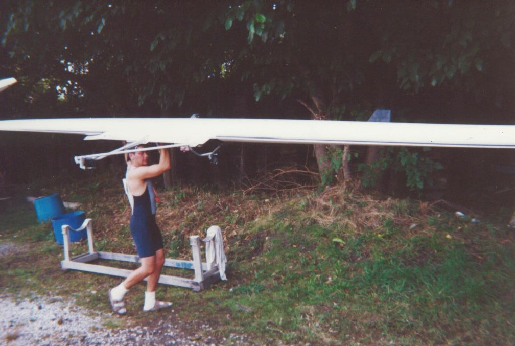 Doug Carrying the Single into the Boathouse