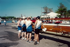 Toledo 1994 - Mens 8 race debrief with Coach Marcovy