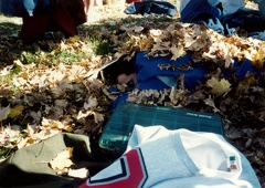Eric Matyac asleep under the leaves